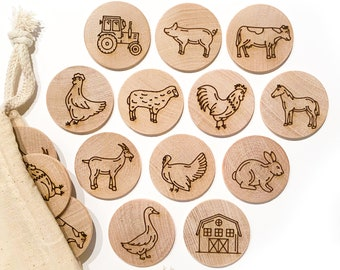 Memory Match Farm Animal Game / Childrens Matching Game / Wood Travel Game / Toddler Preschool Montessori Educational Kids Stocking Stuffer
