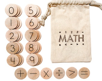 Wood Math Manipulatives / Educational Math Game / Kindergarten Math Activites / Numeracy Learning / Homeschool Resources / Montessori Math