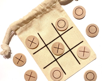 Wood Tic Tac Toe - X's and O's - Noughts and Crosses - Children's Games - Wood Games - Small Gift Idea - Valentine's Gift - Stocking Stuffer