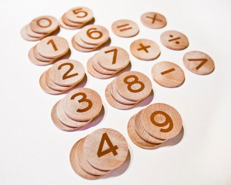 Wood Math Manipulatives / Educational Math Game / Kindergarten image 0