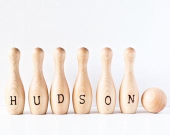 Jeu de quilles bois personnalisé - personnalisé bois Bowling jeu - sur mesure pour enfants Bowling jouet - les tout-petits Bowling Set - jouet en bois - Montessori