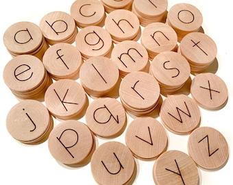 Moveable Alphabet / Wood Alphabet Discs / Lowercase Alphabet Coins / Alphabet Flashcards / Homeschool Learning Materials / Kindergarten Prek