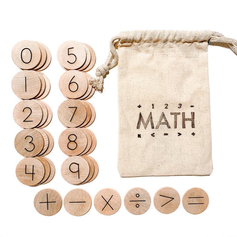 Wood Math Manipulatives / Educational Math Game / Kindergarten image 1