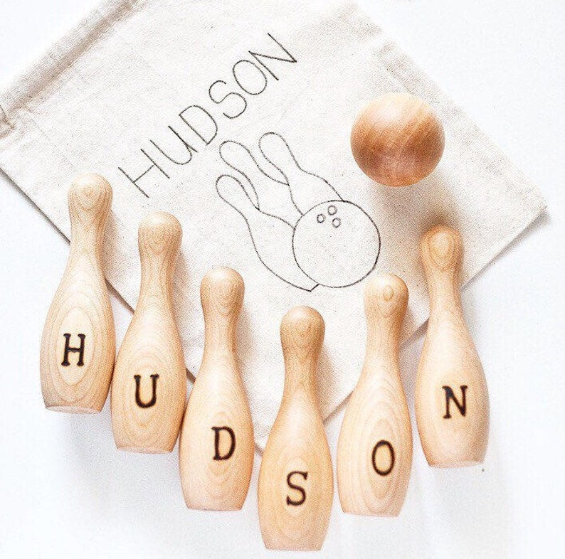 Wood Bowling Toy  Personalized Wood Toy  Wooden Skittles image 0