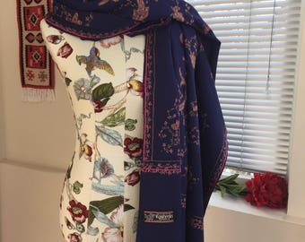 Wool scarf wrap shawl with hand embroidery