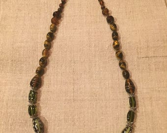 Glass beaded necklace with venetian style beads