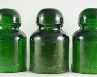 Collectible Glass Insulator, Emerald Green Insulator, SO3 810-73 Railway Insulator, Romanian Glass Insulator Type CD446, Heavy Glass Decor