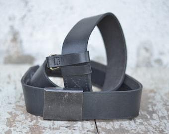 Vintage Leather Belt, Black Leather Belt, Vintage Army Belt, Military Belt Genuine Leather Belt with Black Metal Buckle