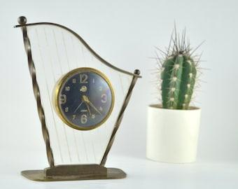 Vintage Harp Clock, Mechanical Wind Clock, Harp Alarm Clock, Harp Shaped Mechanical Clock, Grandmothers Clock, Brass and Lucite Clock