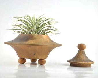 Vintage Wooden Bowl with Lid, Vintage Wooden Trinket Box, Jar with Lid, Mid Century Wood Bowl, Round Wooden Trinket Box, Asia Style Wood Box