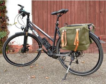 Vintage Bike Pannier with Genuine Leather Straps, Showerproof Bicycle Bags, Two Vinyl  Bike Bags, Set of 2 Bags, Swiss Army Bags