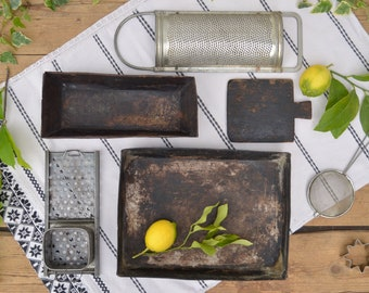 Vintage Rusty Baking Tray, Loaf Pan, Grater, Food Photo Props