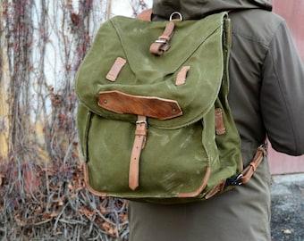 Large Military Backpack, Vintage Army Rucksack, Canvas Bag
