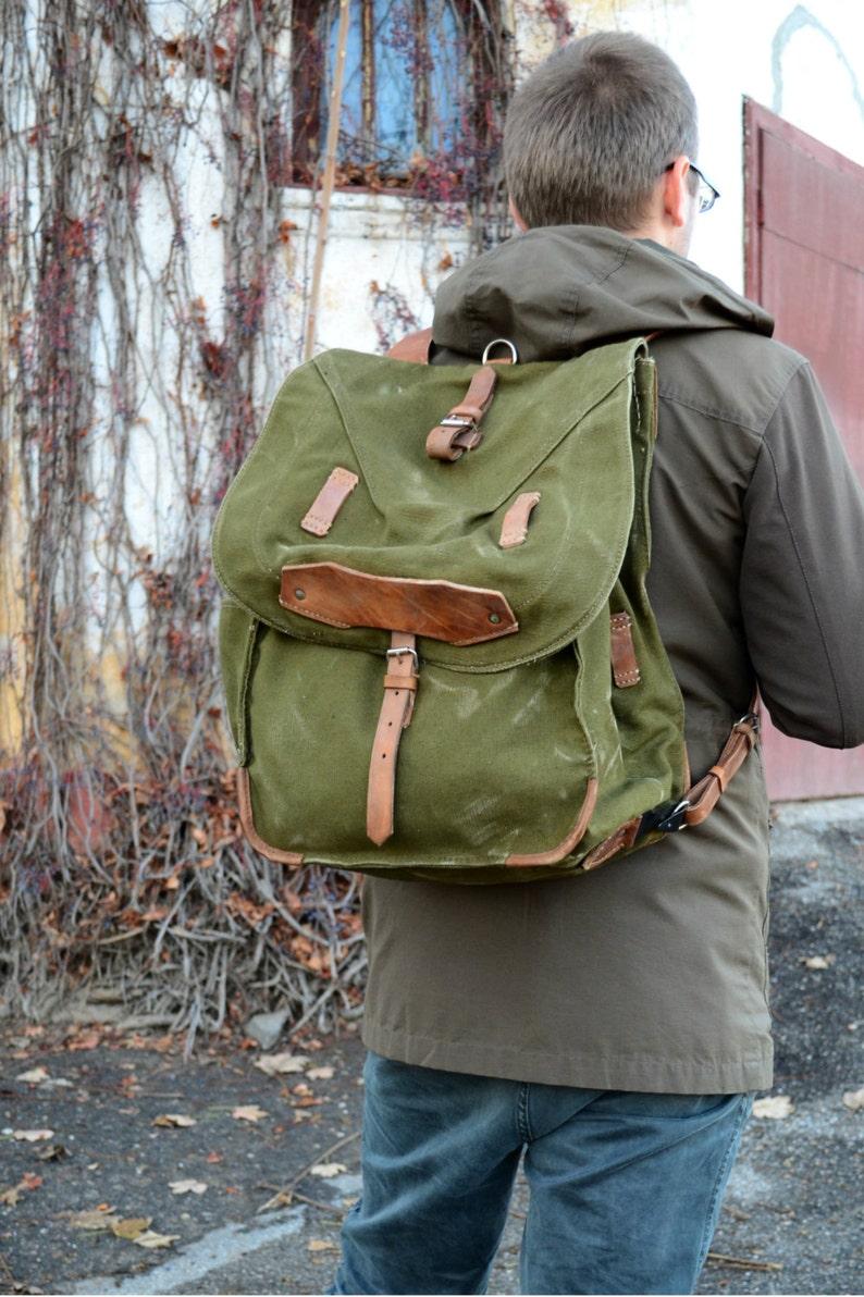 Large Military Backpack Canvas Bag Vintage Army Rucksack