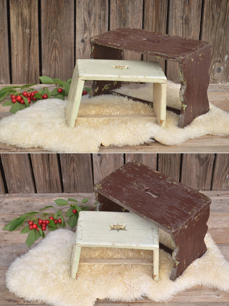 Brilliant Vintage Primitive Milking Stool White And Brown Wood Garden Stool Gmtry Best Dining Table And Chair Ideas Images Gmtryco