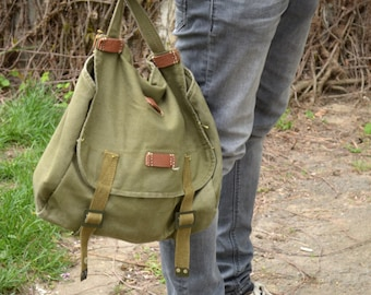 Vintage Military Shoulder Bag, Army Canvas Messenger Bag, Green Light Canvas Army Bag, Cross Body Bag, Unisex Military Haversack