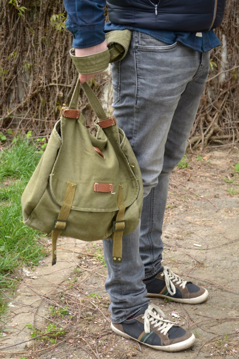 Vintage Military Shoulder Bag Army Canvas Messenger Bag image 0