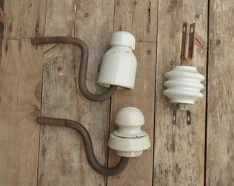 Vintage Ceramic Insulator with Cast Iron Pin, Large White Glazed Porcelain Insulators, Electrical Insulator, Gift for Him, Man Cave Hanger