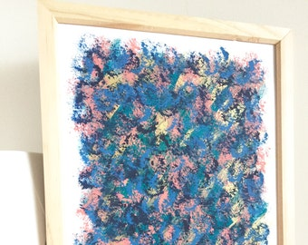 """ABSTRACT WALL ART - ready to hang original print - framed acrylic painting with gold A4 """"Zoey"""""""