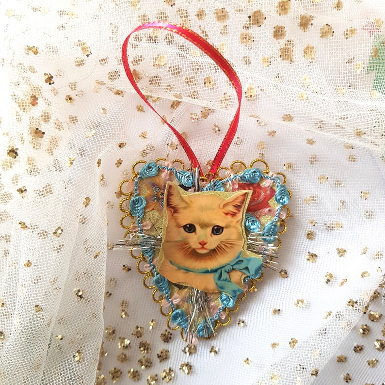 Lovely  Pussy cat decorations with ribbon bow and  tiny bell and greeting of choice Birthday keepsake.