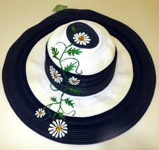 Women's Hand-Painted Sun Hat Summer Daisies