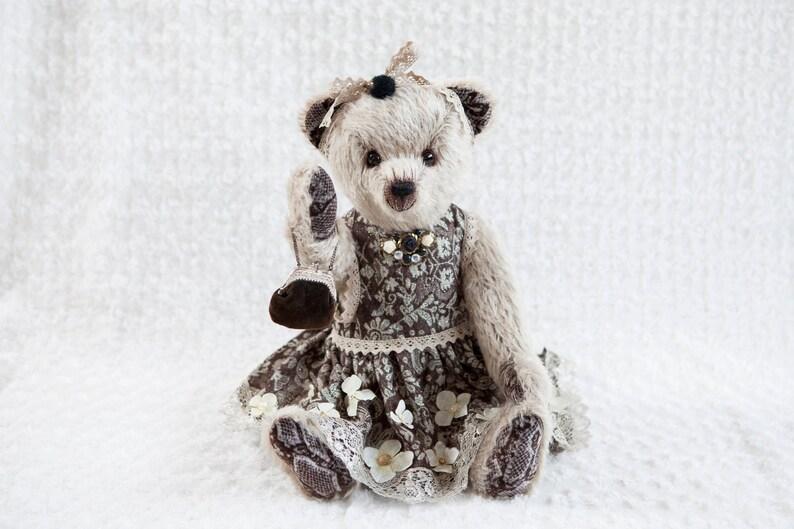 Antoinette OOAK artist teddybear mohair Bekkiebears hedgehog image 0