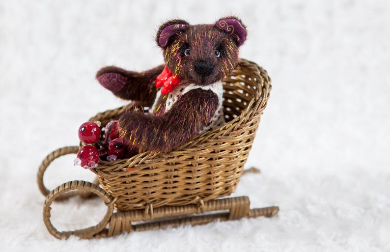 Cris the ooak Christmas mini bear teddybear image 0