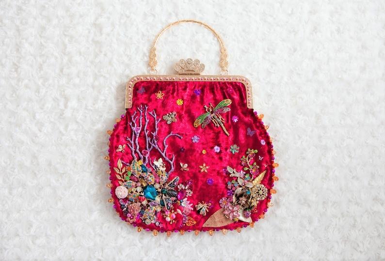 OOAK bag purse 'Abundance' beaded by Bekkiebears image 0
