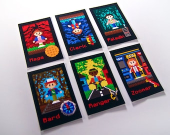 STRANGER THINGS Printable Character Cards / Stranger Things Pixel Art Decorations / Stranger Things Place Cards / DnD Playing Cards