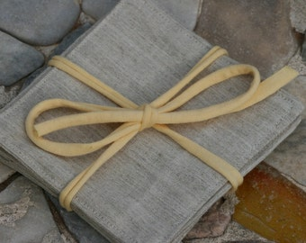 Linen coasters, Set of six Natural Linen coasters, 12cm x 12 cm Linen coasters, Natural Color Linen coasters