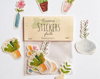 "6 ""PLANTS"" Stickers with trasparent edges - Handmade illustrated Stickers -"