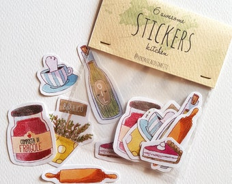 "6 ""KITCHEN"" Stickers with trasparent edges - Handmade illustrated Stickers -"