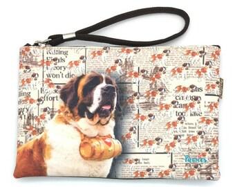 SAINT BERNARD DOG Pouche & Coin Purse, Dog Lovers, Wristlet Pouch