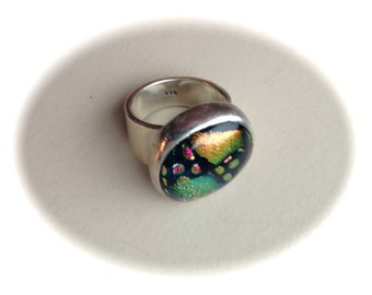 Sterling Silver Dichroic Ring-Size 6
