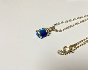 """Sterling Silver blue cat's eye necklace-7.5"""""""