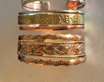 Set of three handcrafted copper/brass bracelets 6.3""
