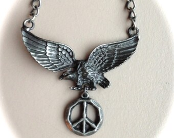 """Eagle with Peace Symbol Necklace 18"""""""