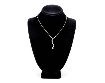 14k White Gold Seven Stone Diamond Wave Journey Necklace - .33 ct. tw - 18 in.