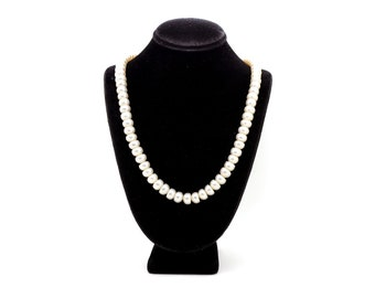 Sterling Silver White 7.6mm Biwa Pearl Strand Necklace with Toggle Clasp - 18 in
