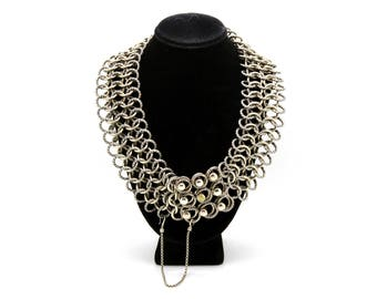 David Yurman Sterling Silver & 18k Gold Chainmail Statement Necklace - 17 in.
