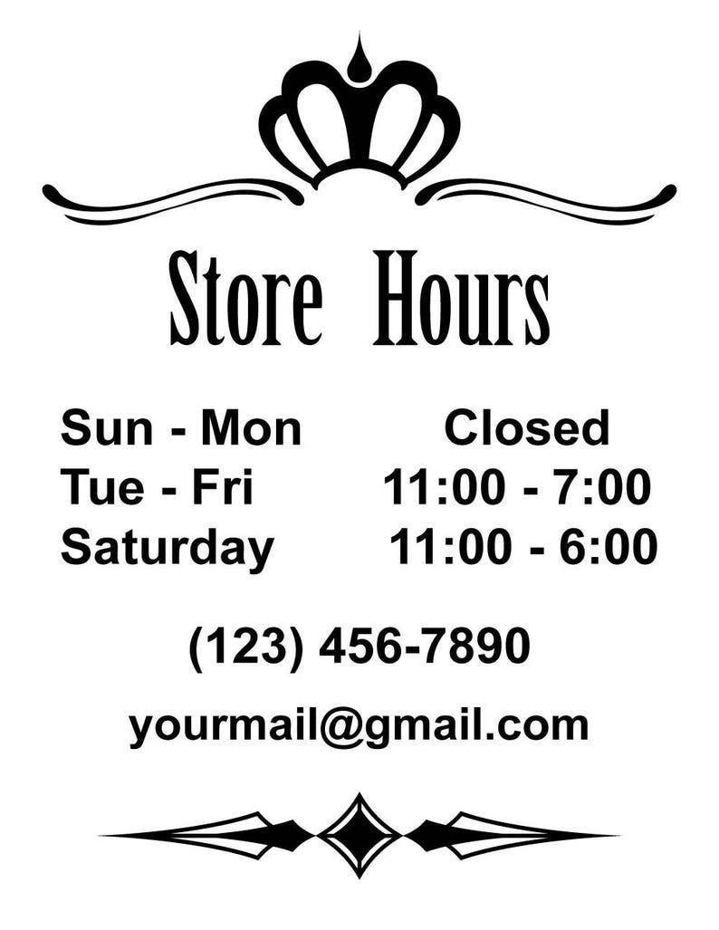 Id bd00009 custom store hours vinyl signs and decals