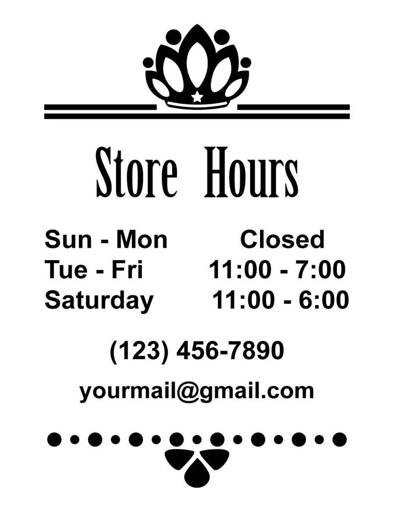 Id bd00010 custom store hours vinyl signs and decals