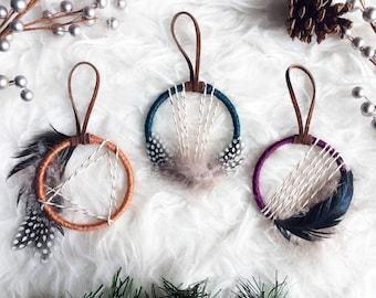 Boho Christmas Ornament Set, Mini Dream Catcher Ornament, Bohemian Christmas Tree, Boho Holiday Decor, Boho Xmas Gift, Colorful Dreamcatcher