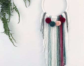 Nursery Wall Hanging, Boho Nursery Decor Girl, Baby Dreamcatcher, Pink and Green Nursery Dream Catcher, Baby Shower Gift, Bohemian Fiber