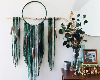 Large Dream Catcher Wall Hanging, Boho Birthday Gift for Wife, Macrame Wall Art, Home Decor Birthday Present for Friend, Unique Dreamcatcher