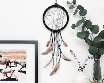 Black Dream Catcher, Bedroom Dreamcatcher, Boho Bedroom Decor, Boho Housewarming Gift, Bohemian Dorm, Modern Dreamcatcher Wall Hanging