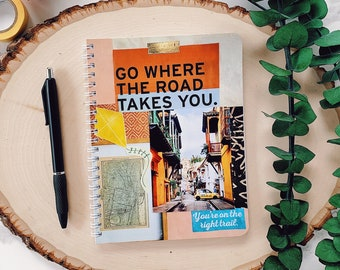 """5""""x7"""" Go Where The Road Takes You Junk Journal - Lined Notebook - Small Spiral Notebook - Adventure Journal - Gifts for College Students"""