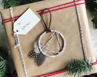Mini Dreamcatcher Ornament - Boho Christmas Ornament - Bohemian Holiday Gift Topper - Modern Rustic Dream Catcher - Modern Cabin Decor