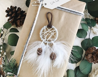 Boho Christmas Gift Ideas for Teens Coastal Christmas Ornaments Blue Christmas Christmas Gifts for Her Small Dreamcatcher Ornaments