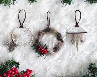 Dream Catcher Ornament, Bohemian Christmas Ornament Set, Holiday Gift for Friends, Nordic Snowfall, Mini Dreamcatcher, Boho Christmas Tree